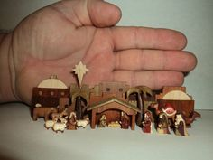 Artist miniature NATIVITY SET hand carved wooden micro Original Christmas OOAK  21 all wood carved pieces Signed David T Arber Jr