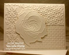 Stampin' Up! ... handmade card ... all vanilla ... four different embossing folders ... luv the embossed rose cut out and popped over three textured panels ...