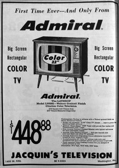 "Vintage ad for an Admiral Color #Television. 22-inch ""Big Screen""!  From 1960s Missourian newspaper. #advertisement"