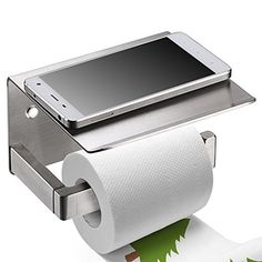 Toilet Paper Holder Sumnacon Havey Duty Stainless Steel Bathroom Tissue Holder with Mobile Phone Storage Shelf  Contemporary Style Wall Mount Thickened Wipes Holder Brushed NickelThicken -- Check this awesome product by going to the link at the image.