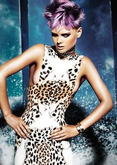 ℒᎧᏤᏋ her short & funky black, purple & platinum blonde hair!!!! ღ❤ღ