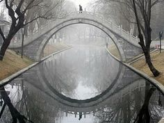Beautiful arched bridge over water. perfectly symmetrical reflection