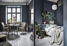 blå väggar Navy Bedrooms, Blue Bedroom, Bedroom Decor, Stiffkey Blue, Home And Living, Living Room, Interior And Exterior, Interior Design, Compact Living