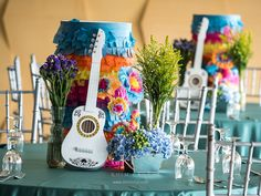 Coco movie inspired birthday party miguel guitar table centerpiece
