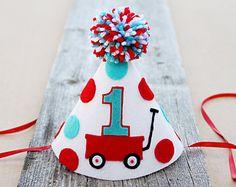 Niños 1 º cumpleaños bigote partido sombrero  por LaLaLolaShop