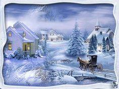 Animated Gifs Winter Mireaczki: Animated winter pictures at night , Christmas Scenes, Vintage Christmas Cards, Christmas Pictures, Winter Christmas, Thomas Kinkade, Jig Saw, Winter Szenen, Winter Storm, Winter Painting