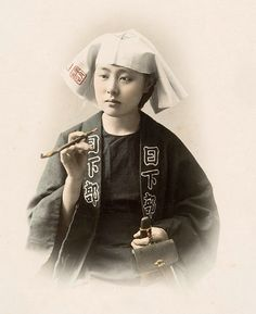 Young Woman with Whistle Photographer Kusakabe Kimbei, 1880's, Japan