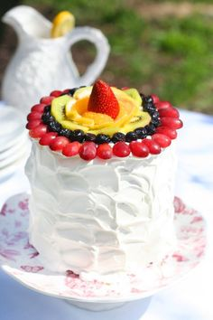 fruit rainbow cake iced