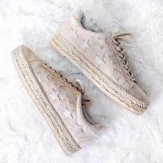 Light pink star espadrille sneakers