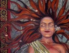 Celtic goddess Brighid. She carries the flame through the winter until spring. She is the goddess of fire, poetry, healing and childbirth.