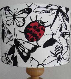 Handmade Drum and Square Lampshade in Prestigious Papillion Black & Red Ins