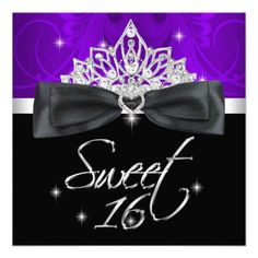 Sweet 16 16th Birthday Party Purple Black Bow Invite