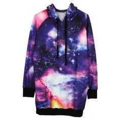 Purple Drawstring Hooded Long Sleeve Galaxy Sweatshirt found on Polyvore