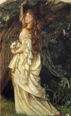 """""""It was a breath of wind, that, twisting your great tresses, brought strange rumours of your dreaming mind; It was your heart, listening to the song of Nature, in the groans of the trees and the sighs of the nights."""" ~ Ophelia, by Arthur Rimbaud  (The painting is """"Ophelia"""" by Arthur Hughes.)"""