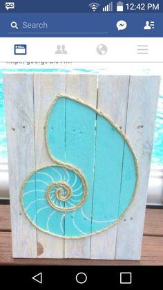 Handmade Nautilus Shell with Rope Beach Pallet Art Coastal Decor Rope Art Pallet Art Coquille Seashell Crafts, Beach Crafts, Beach Themed Crafts, Flower Crafts, Kids Crafts, Art Corde, Art Plage, Deco Marine, Rope Art
