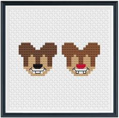 THIS IS A PATTERN - NOT FINISHED PRODUCT!  A Stitch of Magic Chip and Dale Stitch Pattern PDF  Two of a kind and we couldnt love them more!  #astitchofmagic  Skill level: Beginner Suggested Fabric: 14 ct. aida Finished Design Size on 14 ct. aida: 3w x 3h Grid Size: 42w x 42h Individual Mouse Ear Perler Beads, Perler Bead Art, Cute Cross Stitch, Cross Stitch Designs, Cross Stitch Patterns, Perler Patterns, Pdf Patterns, Melt Beads Patterns, Disney Mouse Ears