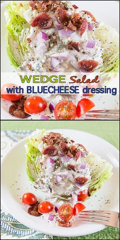 A delicious wedge salad with homemade buttermilk blue cheese dressing… Tasty Vegetarian Recipes, Easy Healthy Recipes, Healthy Lunches, Delicious Recipes, Easy Meals, Wedge Salad, Salad Bar, Homemade Buttermilk, Salad Recipes