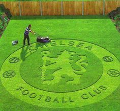 One day I'll do this to my friend yard when I have my own house and Chelsea makes it to the finals of Champions League