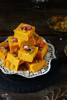 Kesar and Mawa Kopra Pak / Topra Pak - Indian Style coconut fudge