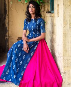 Indigo Hand Block Printed Maxi Dress and Skirt