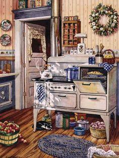 Vintage kitchen illustration artworks 48 New ideas Kitchen Art, Country Kitchen, Vintage Kitchen, Vintage Stove, Kitchen Canvas, Antique Stove, Chef Kitchen, Kitchen Prints, Country Farmhouse