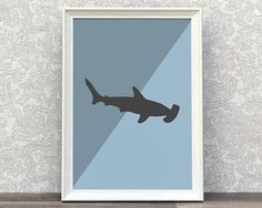 Cool bedroom print for kids. Hammerhead Shark on blue background. by Creocrux