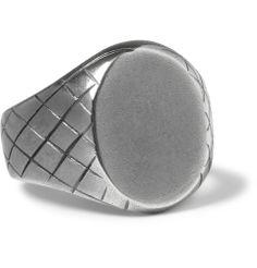 Bottega veneta engraved sterling silver signet ring mr porter