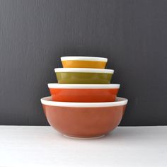 Vintage Americana Pyrex Mixing Bowl Set  Fall Colors  by KOLORIZE, $95.00