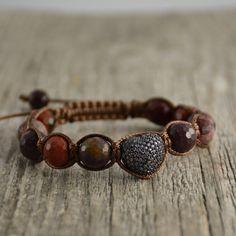 Reds and purples. Heart shamballa bracelet. Beaded women's jewelry. by…