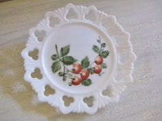 Kemple glass | Kemple Milk Glass Clover Edged Plate with by NevermorePrimitives