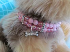 Pink Beaded Rhinestone Bone Dog/Cat Necklace, Dog Bling, Pet Bling, Pet Collar Accessory on Etsy, $13.99