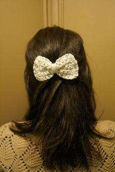 Cute Crochet Hair Bow in Cream Speckled With Clip by MAMAOWLSHOP, $6.50