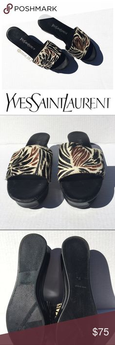 """YSL vintage slides - 8 Step out in style with these beautiful classic YSL slides. Made and purchased in Italy! 😍   The rare vintage platform slides feature a black sole with calf hair pony leather strap dyed in a stunning cream, tobacco and espresso pattern.    Vintage size 8, but they fit closer to a 7.5 with a 9.5"""" footbed.   The bottom of the soles are in amazing condition, the soft supple leather inner sole and insides of the straps show minor signs of age.   Make an offer! Yves Saint…"""