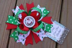 Adorable Christmas Hair bow Santa clause by PinkHairBowBoutique Christmas Hair Bows, Christmas Ornaments, Pink Hair Bows, Tutu Costumes, Boutique Hair Bows, Santa Clause, Hair Clips, Headbands, Holiday Decor