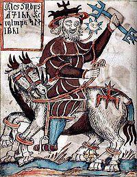 """Odin (oldnordisk Óðinn, af óðr """"raseri"""") i Nordisk mytologi Frigg's ægtemand, og er en af de mest fremtrædende guder i den traditionelle nordiske religion;  han forbindes i særlig grad med: krigslykke (og de i krigen faldne), kongemagt, runemagi, visdom og skjaldekunst;  dertil havde han store kundskaber om sejd.  Han omtales i kilderne gerne med andre navne:  hyppigt bruges tilnavnet Alfader,  andre gange kaldes han Ygg (den frygtelige),  et andet navn var Jolner  og under det, optrådte…"""