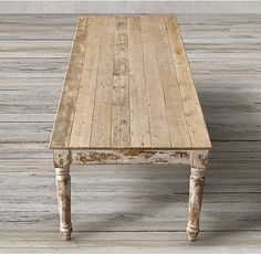 RH's 19th C. English Farmhouse Rectangular Dining Table :Reclaimed wood lends inimitable character and warmth to our table, modeled after a 19th-century English farmhouse antique. Crafted of salvaged pine, it features a long, planked top and spindle-turned legs.