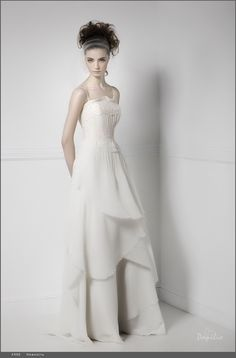 "Stylish wedding gown with A-line cascade skirt, from Papilio ""Mood"" bridal collection."