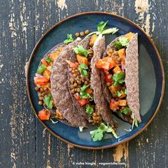 Smoky lentil and sweet potato tacos http://www.veganricha.com/2014/07/smoky-lentil-and-sweet-potato-tacos.html