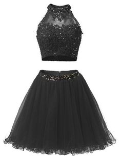 Black Sparkle Two-Piece Beading Homecoming Dress,Short Prom Dress,5759