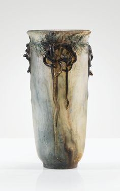 'VASE COULEUVRES', A PÂTE DE VERRE VASE BY FRANÇOIS-EMILE DÉCORCHEMONT, DESIGNED IN 1912. IMPRESSED WITH ARTIST'S SEAL THREE COPIES OF THIS MODEL WERE EXECUTED, TWO ONLY ARE KNOWN TODAY, THE OTHER IS IN THE MUSÉE FIN-DE-SIÈCLE, BRUSSELS, FROM THE COLLECTION OF BARON AND BARONESS GILLION CROWET.