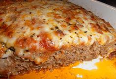 Italian Meatloaf ~ like meatballs in loaf style, topped with mozzarella & parmesan cheese