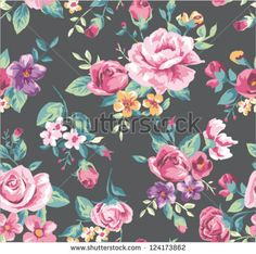seamless vintage tropical flower pattern vector