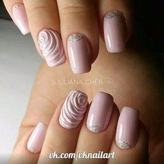 In search for the perfect wedding nails for bride? Take a look through our collection of 30 gorgeous wedding nail ideas and find some inspiration! Rose Nail Design, Rose Nail Art, Nail Art 3d, 3d Nails, Pink Nails, Cute Nails, Silver Nails, Pretty Nail Art, Beautiful Nail Art