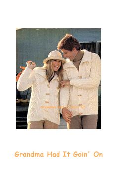 KNITTING PATTERN  Aran Cardigan His & Hers by GrandmaHadItGoinOn