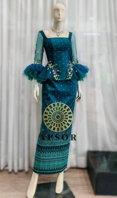Batik Kebaya, Batik Dress, Pretty Dresses, Beautiful Dresses, Sunday Dress, Traditional Clothes, Peplum Blouse, Satin Skirt, Modern Outfits