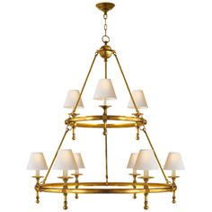 "Classic Two-Tier Ring Chandelier in Hand-Rubbed Antique Brass with Natural Paper ShadesItem # SL 5813HAB-NPDesigner: E. F. ChapmanFixture Height: 47""Width: 45""Canopy: 5.5"" RoundSocket: 9 - E12 CandelabraWattage: 9 - 40 B11Weight: 31 Pounds"