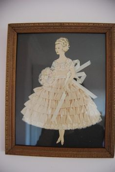 Vintage Deco Ribbon Lace Paper Doll Lady Framed Art Picture