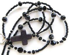 BLACK CROSS Beaded ID Lanyard Badge Holder by CJsInspirations