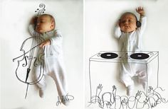 Adele Enersen of Mila's Daydreams is back at it! This time, she snapped pictures of her baby Vincent   with her iPhone and sketched out his imaginary activities.