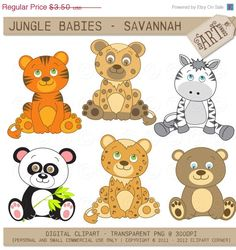 20% OFF Digital Clipart - Jungle Animals Savannah (DC-7549) - Instant Download